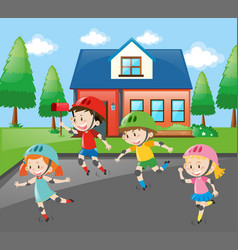 children rollerskating on the road vector image