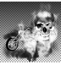 Chopper motorbike with skull in smoke vector