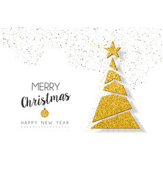 Christmas new year gold glitter holiday pine tree vector