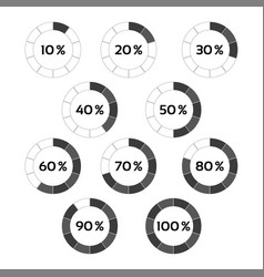 circle diagram ten steps percentage indicators vector image