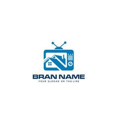 Concept logo combination house and tv design vector