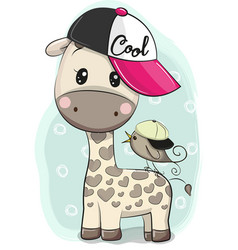 cute cartoon giraffe in a cap with a bird vector image
