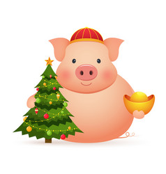 cute pig with chinese gold and christmas tree vector image