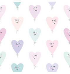 cute seamless pattern with kawaii hearts balloons vector image