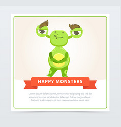 Cute skeptical funny green monster standing with vector