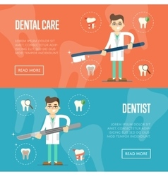 Dental website templates with male dentist vector image vector image
