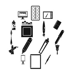 design and drawing tools icons set simple style vector image