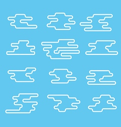 Different abstract lineart clouds collection Flat vector image