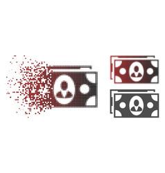 Disintegrating pixelated halftone banknotes icon vector