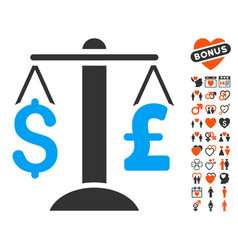 dollar pound balance icon with valentine bonus vector image