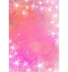 Doodle flower frame on pink background vector