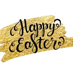 Easter lettering on gold texture vector image