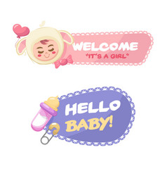 fantastic baby shower badges vector image
