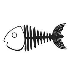 fish skeleton icon marine fishbone shape element vector image