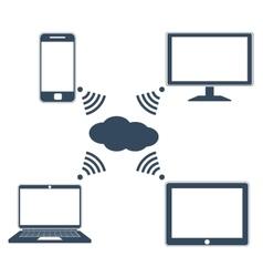 Flat design concept of cloud service vector image