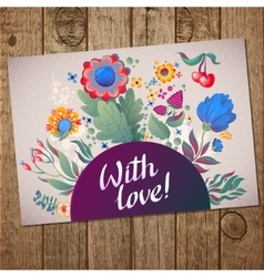 Flower heart frame Colorful floral card vector