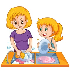 Girl helping mom doing the dishes vector image