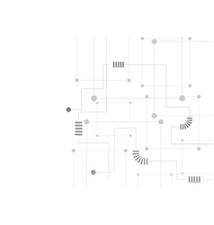 grey abstract tech circuit board drawing vector image