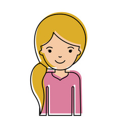 Half body woman with pigtail hairstyle in vector