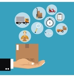 hand holding box set delivery concept vector image