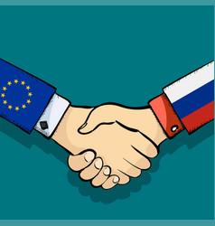 Handshake of two people vector
