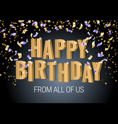 happy birthday inscription gold letters vector image