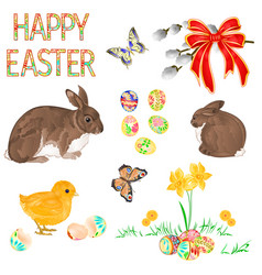 Happy easter decoration chick butterfly rabbits vector