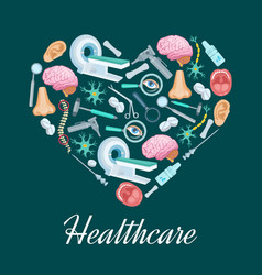 Healthcare medicine heart poster vector
