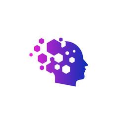 Hexagon human head logo icon design vector