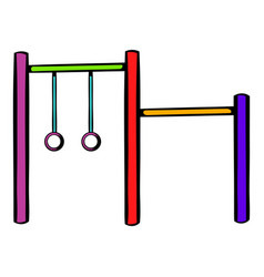 horizontal bar with climbing rings icon vector image