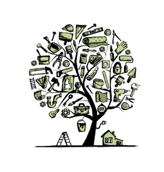 House repair concept tree for your design vector image