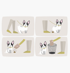 how to pick up dog poop using plastic bag vector image