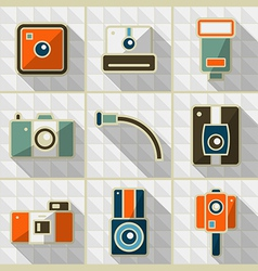 Icons retro camera in flat style vector image