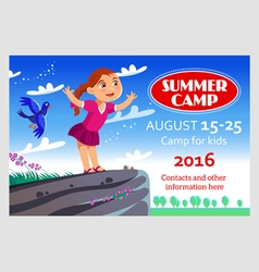 Kids summer camp flier vector
