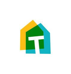 Letter t house home overlapping color logo icon vector