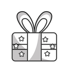 Line present gift to celebrate special day vector