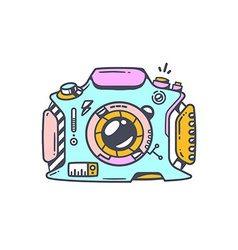 Linear of blue photo camera vector