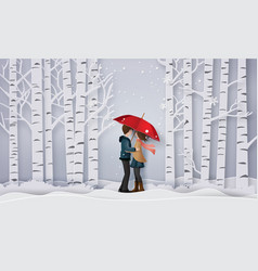 love and winter season vector image