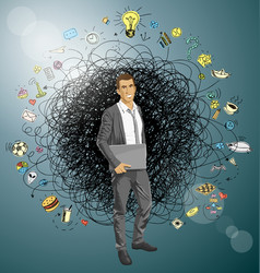 Man with laptop in his hands vector
