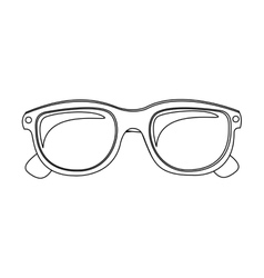 Monochrome contour with oval glasses lens vector