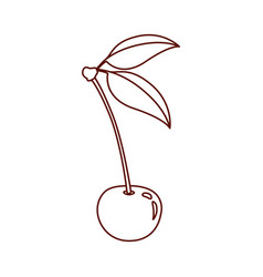 Monochrome silhouette of cherry with stem and vector