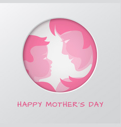 mothers day greeting card with cut paper circle vector image