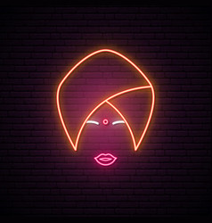Neon sign indian woman in national headdress vector