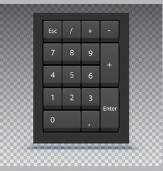 Numeric keypad close up view calculator numpad vector