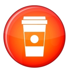 Paper cup of coffee icon flat style vector