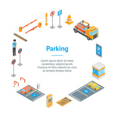 parking signs 3d banner card circle isometric view vector image