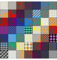 Patchwork of fabric in rainbow colors vector image