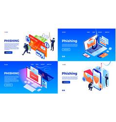 Phishing banner set isometric style vector