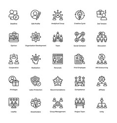 project management line icons set 2 vector image