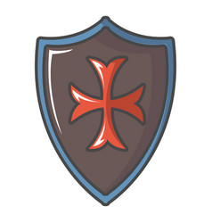 Red cross classic shield icon cartoon style vector